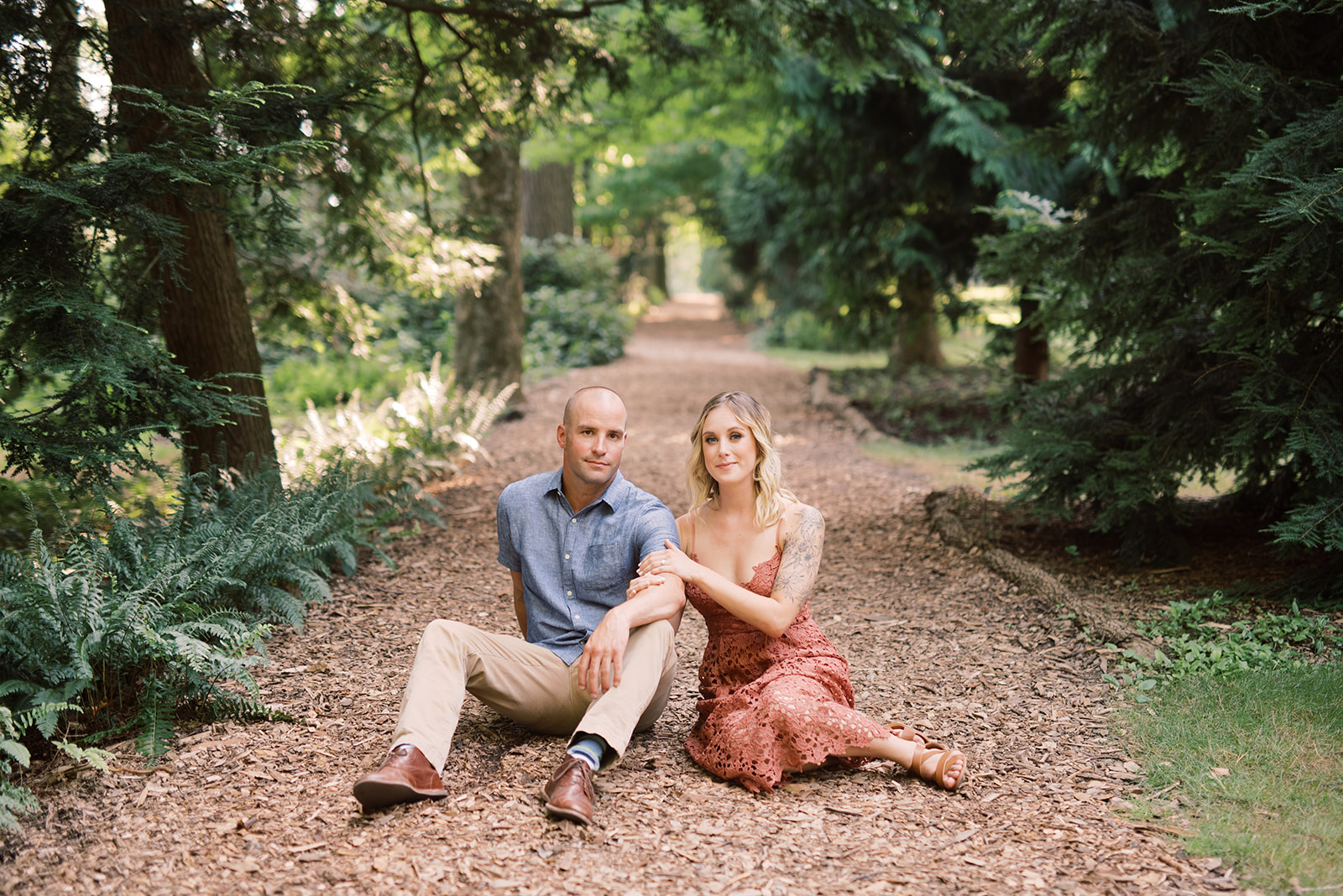 Engagement session at Pierce's Woods in Longwood Gardens.