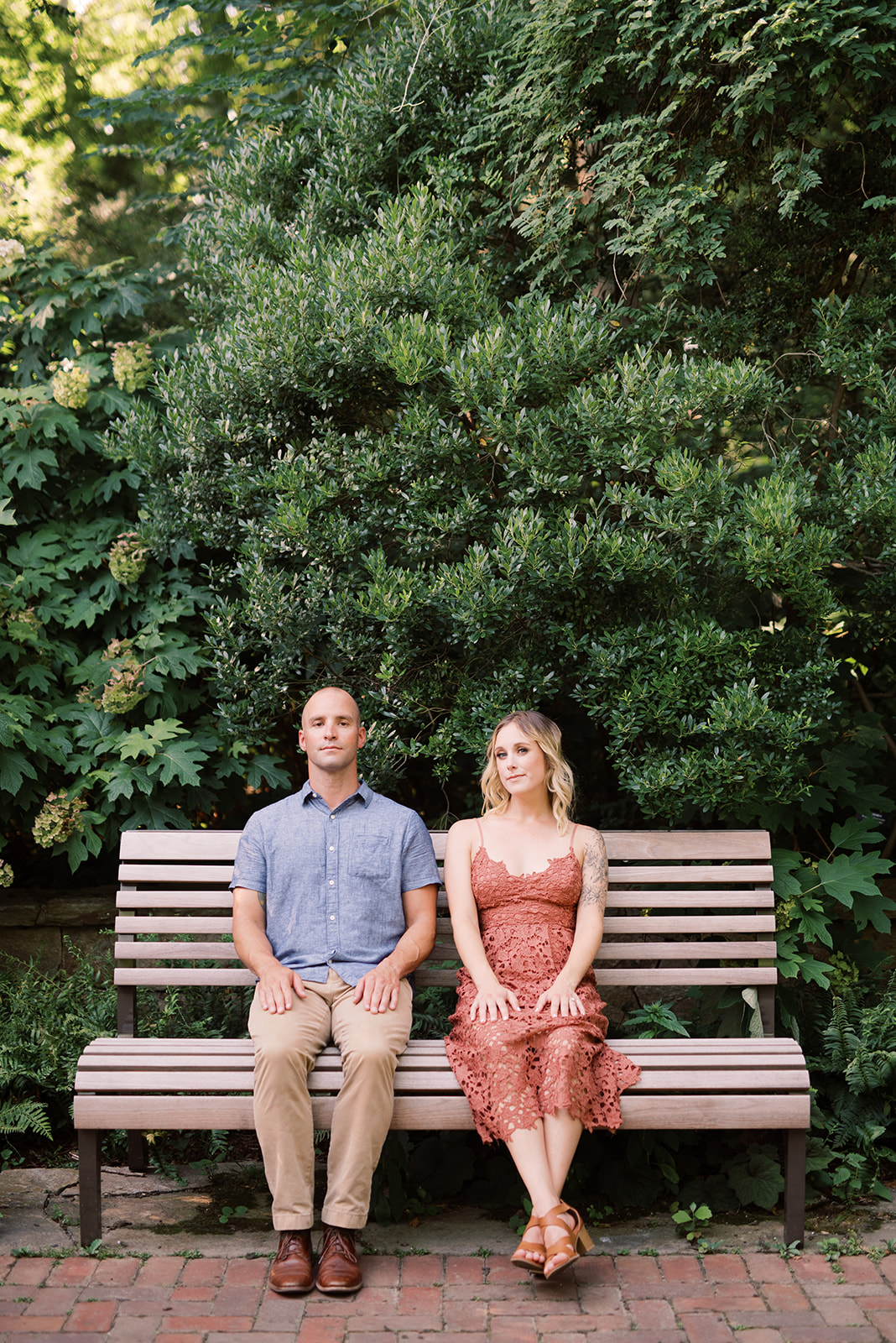 Longwood Gardens engagement session reminiscent of Forrest Gump.