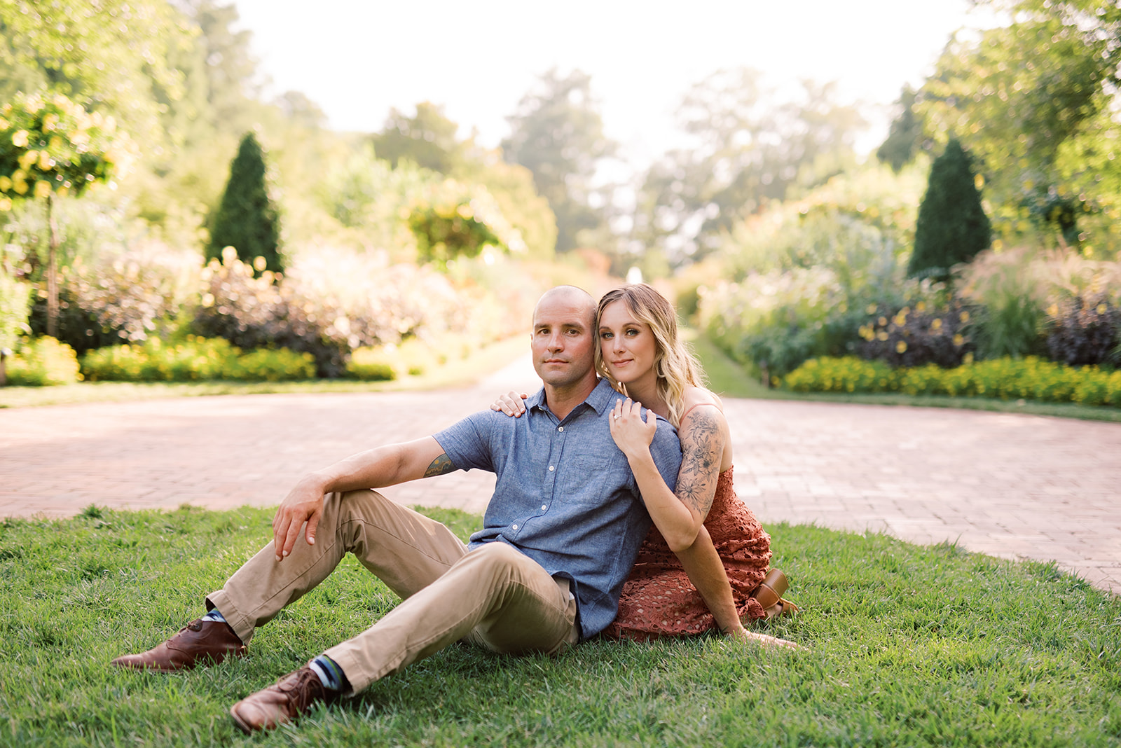 Engagement photos within the formal gardens at Longwood Gardens.