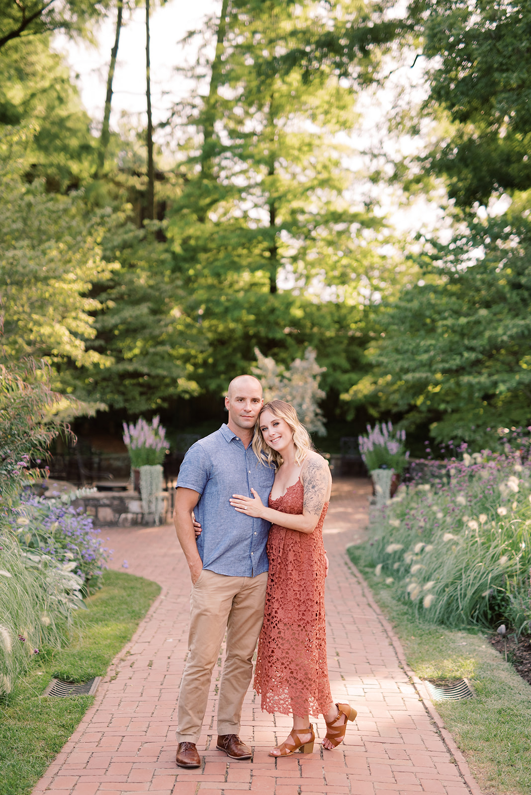 Garden party inspired engagement session at Longwood Gardens.