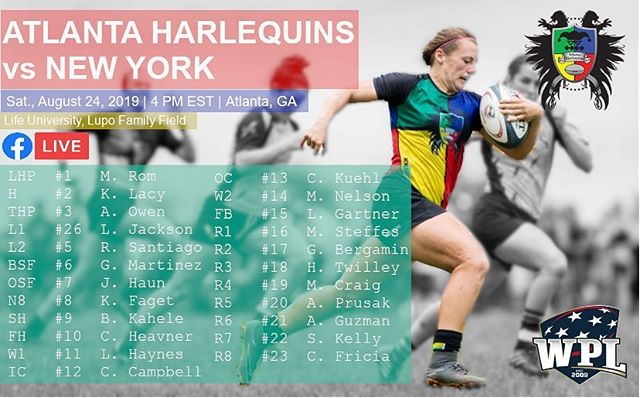 """Fall 2019 WPL home opener tomorrow! Here is the team set to face @nyrcwomen tomorrow at 4 PM EST. A few more new faces, all of whom are looking to #bringthebeef! REMINDER: We'll livestream all home matches via @facebook Live! Coverage will begin shortly before kickoff. For this match, we'll have commentary by: former coach Kittery Wagner Ruiz (@kitt.wagner.ruiz ) and Amonae """"Fergie"""" Dabbs-Brown. Link to Facebook page where livestream will take place in bio!  #ahwrfc #atlquins #atlrugby #wrugby #usarugby #WPLrugby"""