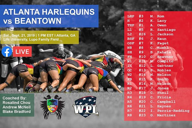 Here's the squad set to #bringthebeef against @beantownrfc at home today @ 1 PM EST. Coverage will begin shortly before 1 PM on our @facebook page; our Facebook page is linked in our bio! Original 📸: @sharongaiettophotography #ahwrfc #atlquins #harlequins #wrugby #usarugby #WPLrugby #cornfed #rugbyatl