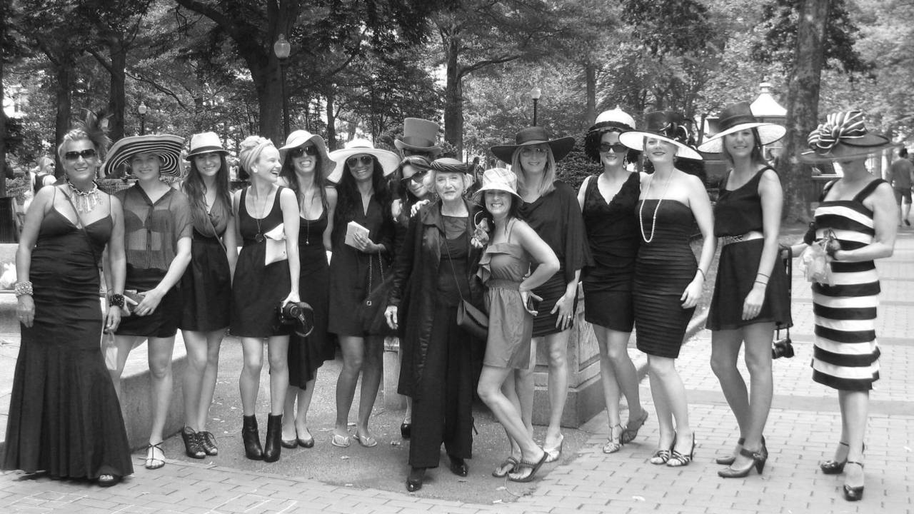 PHASHION MOB HITS PHILADELPHIA     Phashion Flash Mob, center city Philadelphia, 6/18/11. We rocked black frocks and chic chapeaux to rave reviews from Philly onlookers. (That's me, in the black hat, fifth from right)