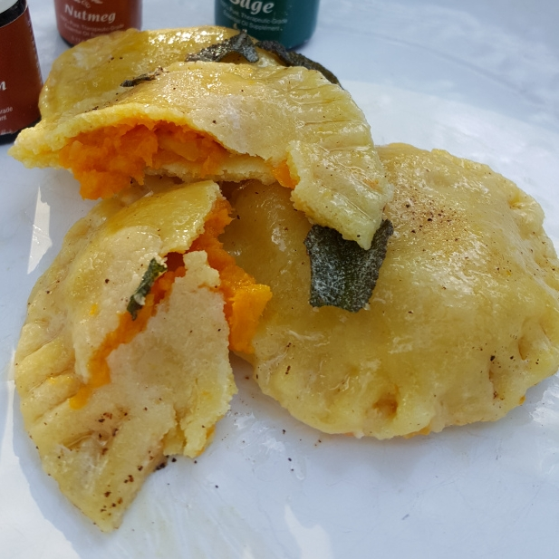 Butternut squash ravioli with essential oils