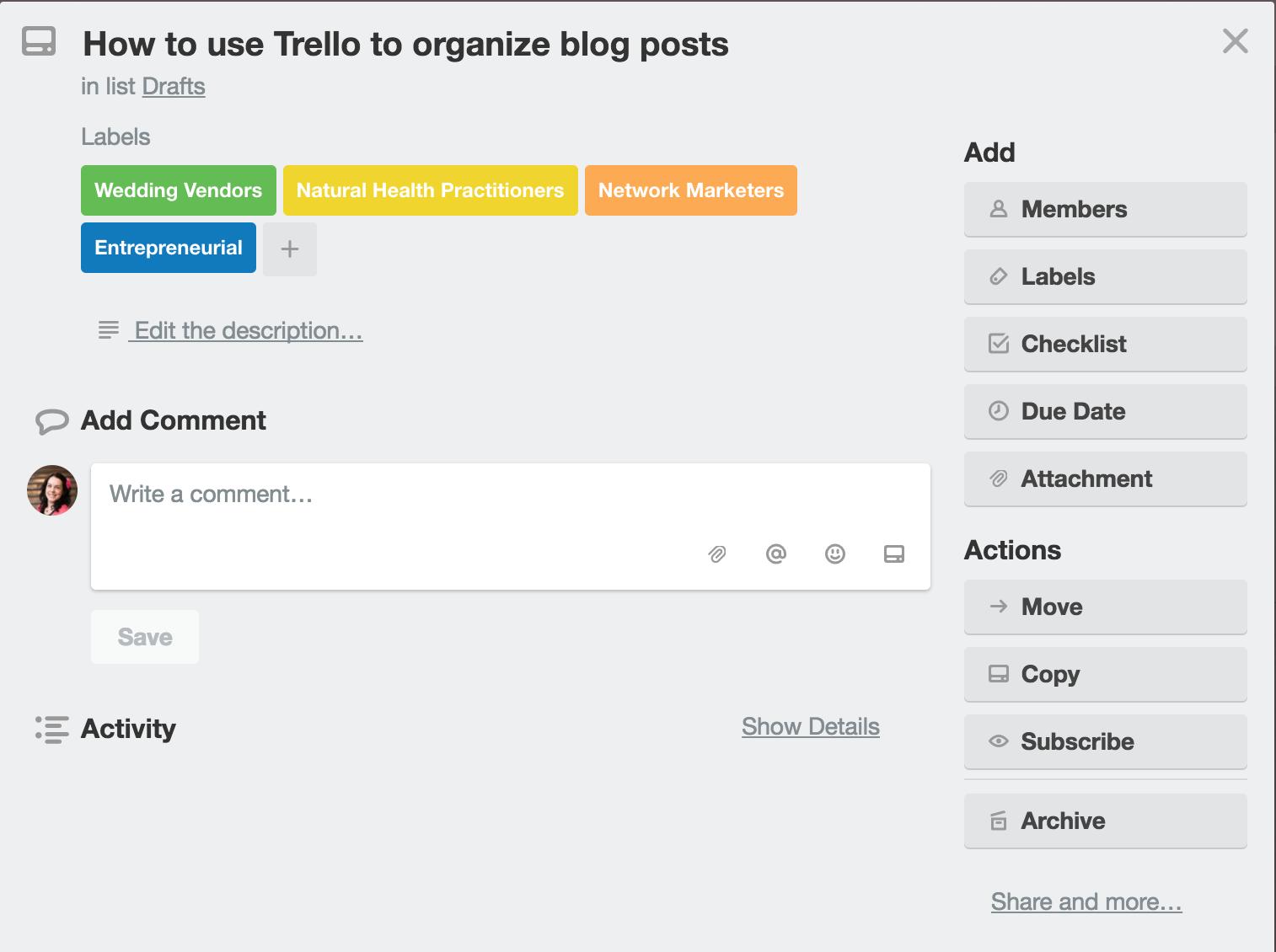 Organize blog with Trello