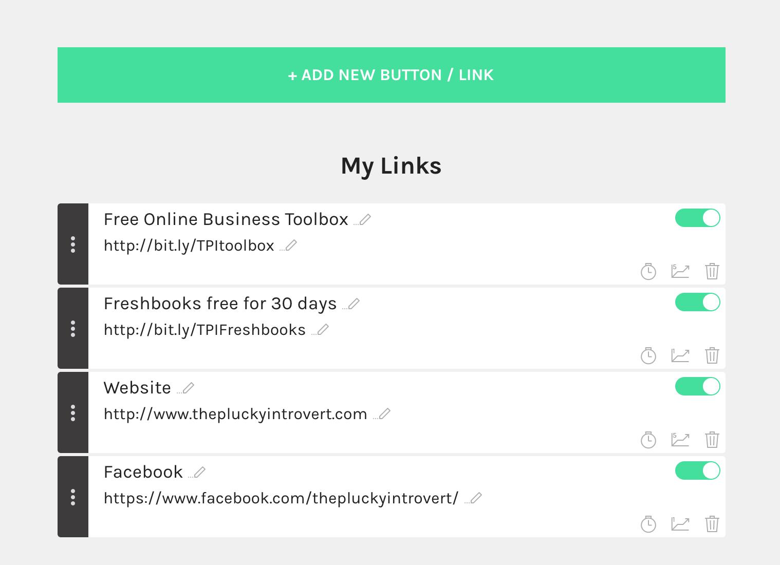 Linktree dashboard