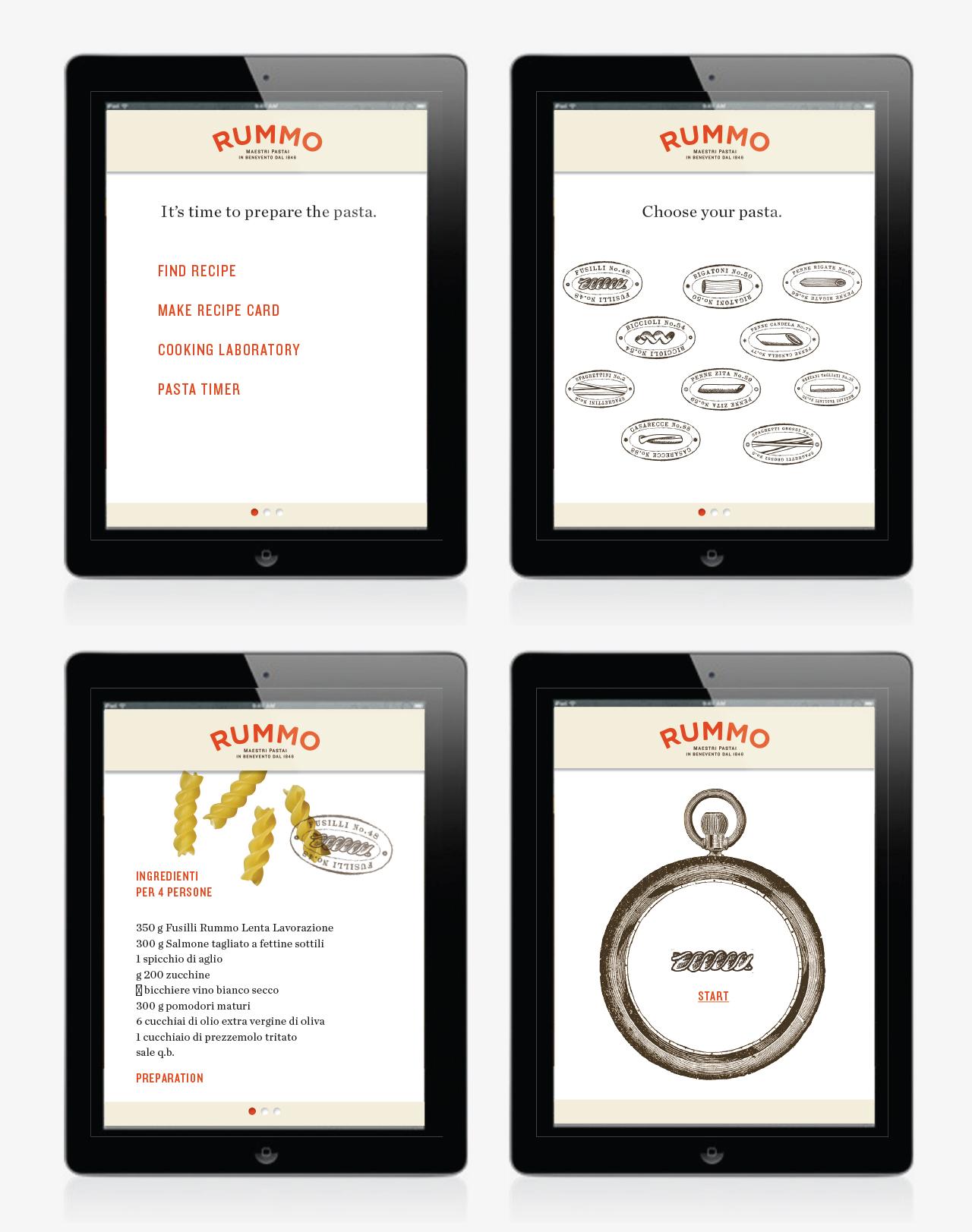 Proposed app including recipe finder, inspiration, preparation instructions, pasta-cooking timer.