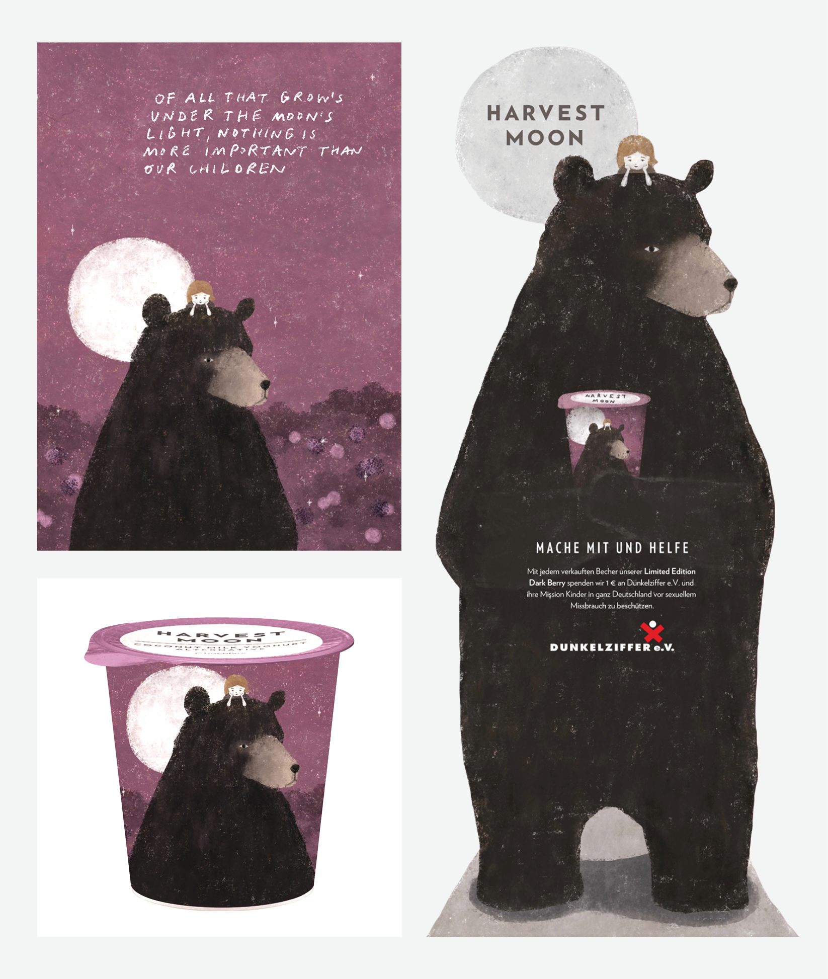 Concept packaging and support materials for special edition Dark Berry, designed to raise money for Dunkelziffer, a German organization that fights sexual abuse against children. In collaboration with Irving and Co. and illustrator, Akira Kusaka.