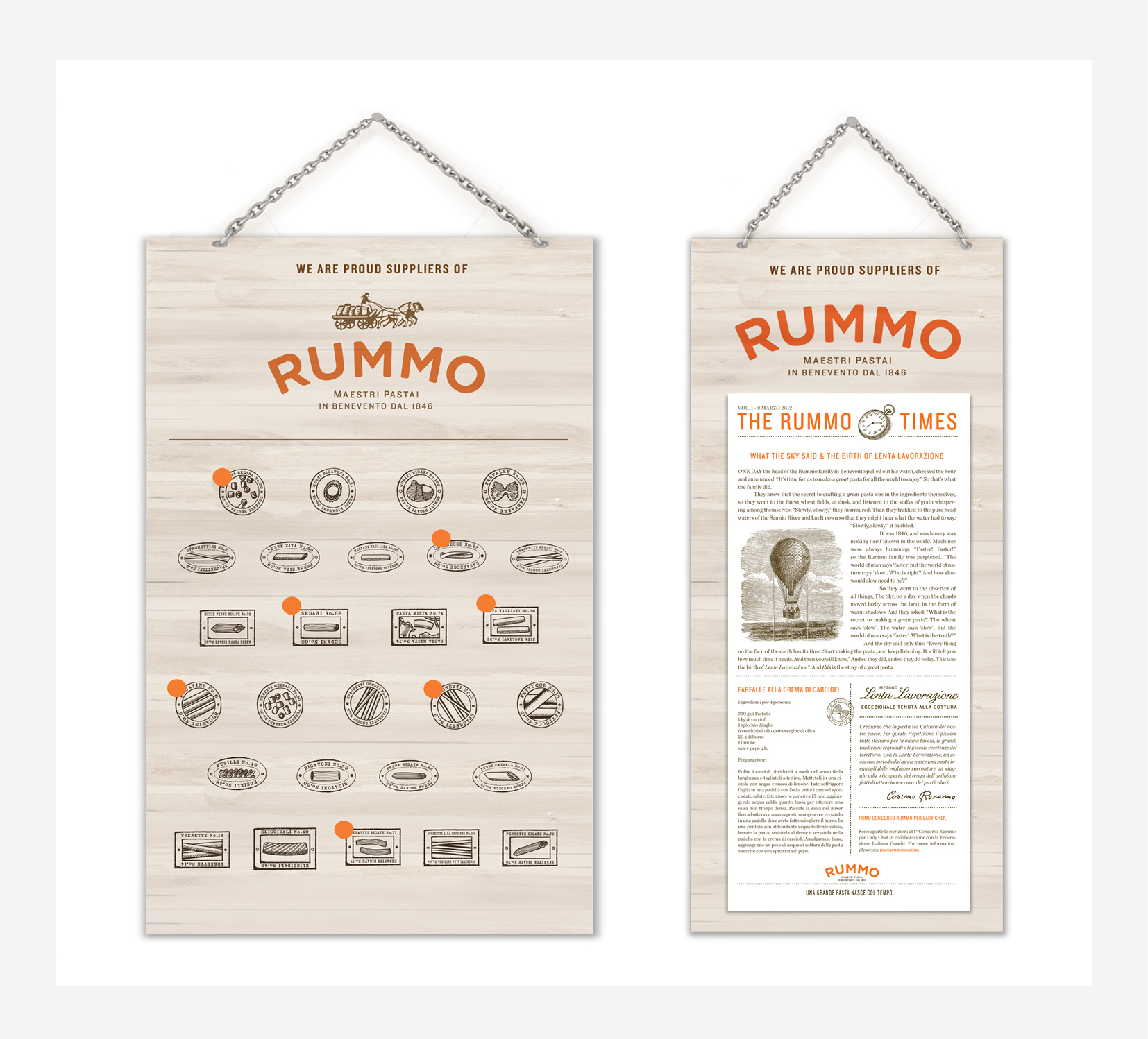 """In-store support. """"In-Stock"""" plaque,  The Rummo Times  with featured recipes."""