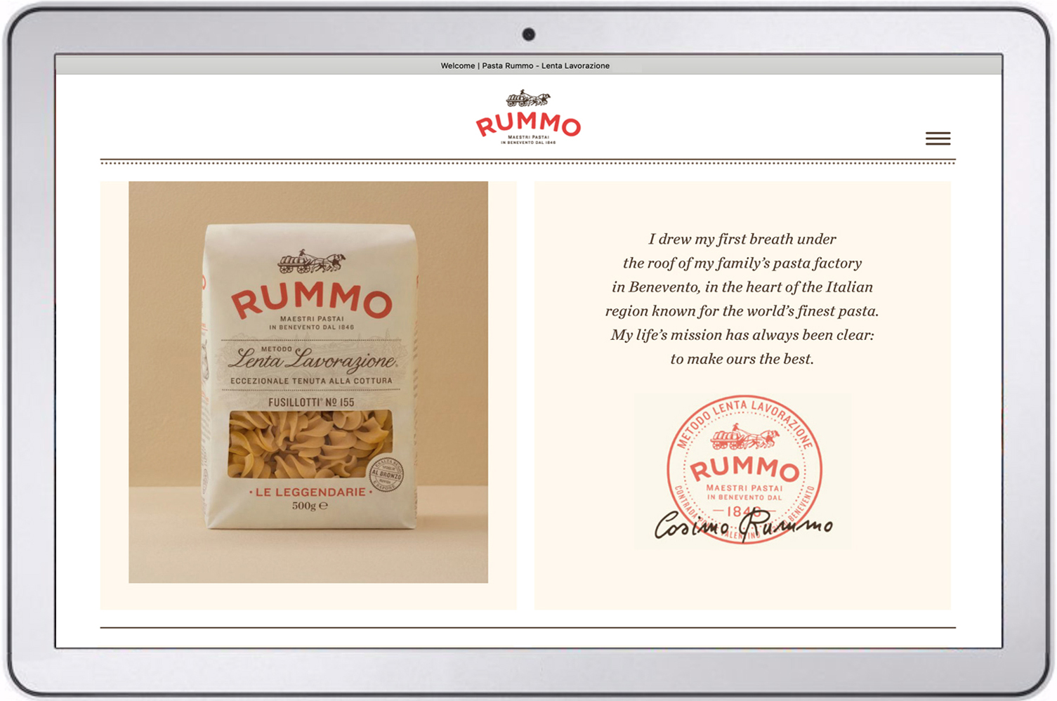 The new, streamlined   Rummo website  . Creative direction and text: Charlotte Moore.
