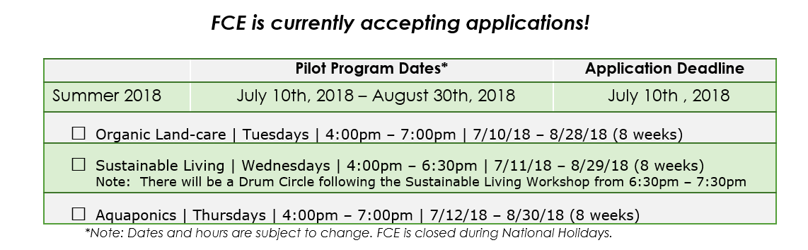 NOTE: FCE is extending the application deadline through Monday, July, 16th, 2018. Please download the application and submit as instructed.