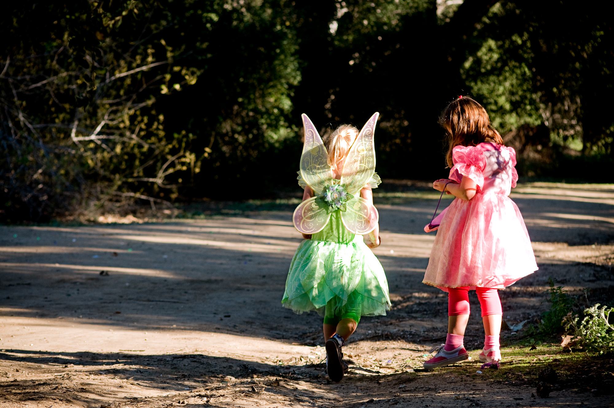 "Guests of ""A Faery Hunt,"" dressed as fairies themselves, look for treasures and other trinkets laid out for them to find before the show."