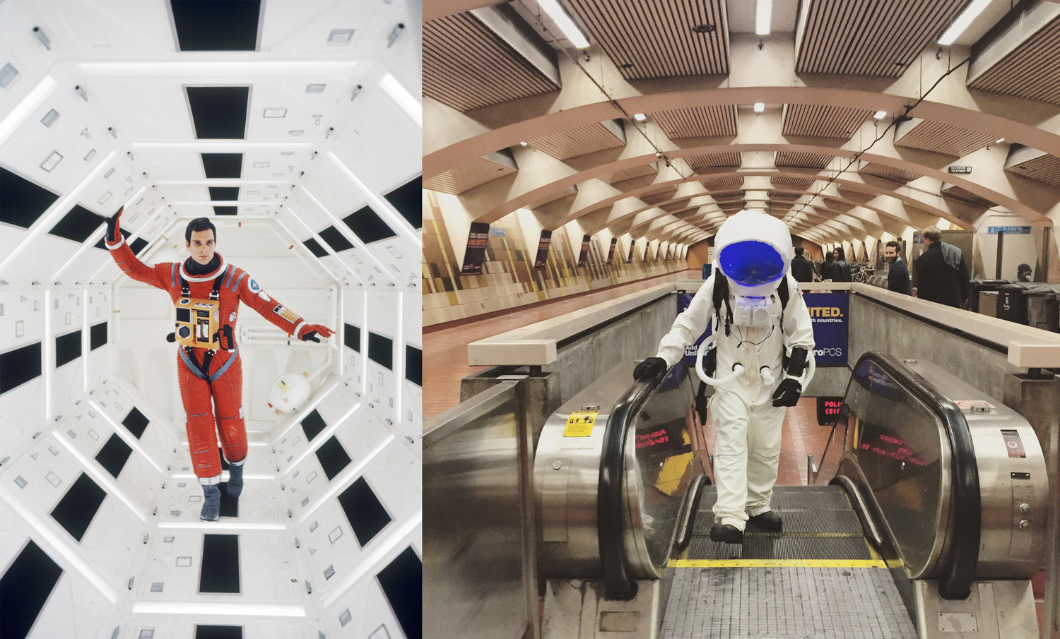One of my early inspirations for the space suit was the image at left from Stanley Kubrick's 2001: A Space Odyssey. The following image was shot nearly a full month later on Halloween night. No efforts were made to mirror this scene, it came about naturally. In hindsight,seeing them side-by-side really speaks to the power of pre-visualization in any project. Photos from left: MGM, Heidi Lavelle