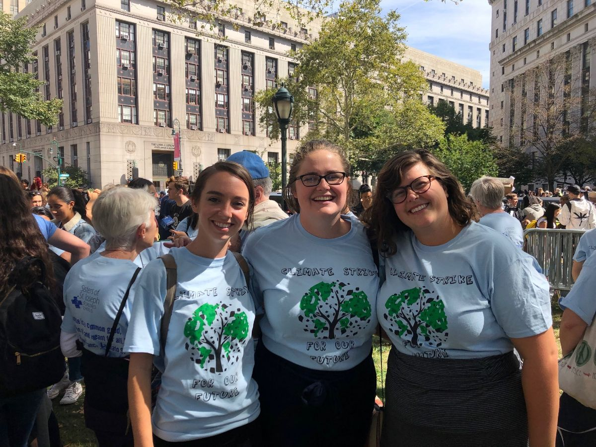 Colleen, Allison, and Brooklyn at the Climate Strike