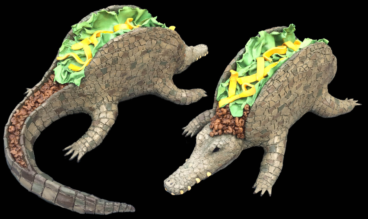 Tacodile , a hybrid character of something manmade (taco) and something natural (crocodile). Sculpture created for 3D design class.
