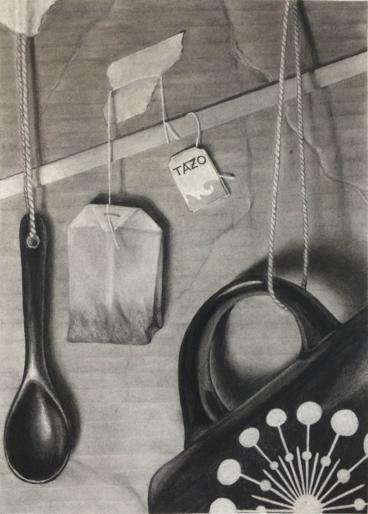 Charcoal, 22x30 in. Hanging still life study for Drawing II.