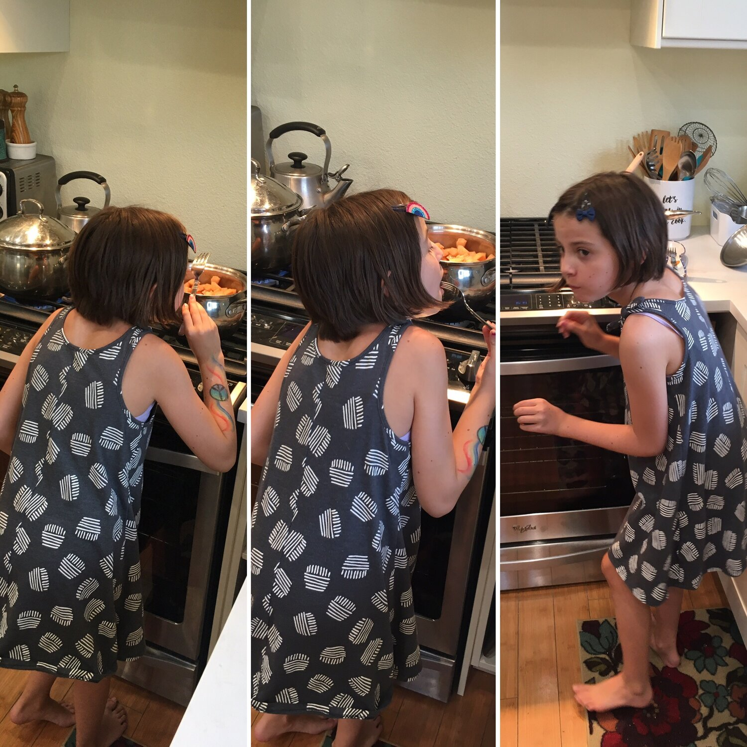 This kid! As if I couldn't see her, she snuck past me to get a taste of our cooking pears when I was right next to the stove at the kitchen sink. She cracks me up!