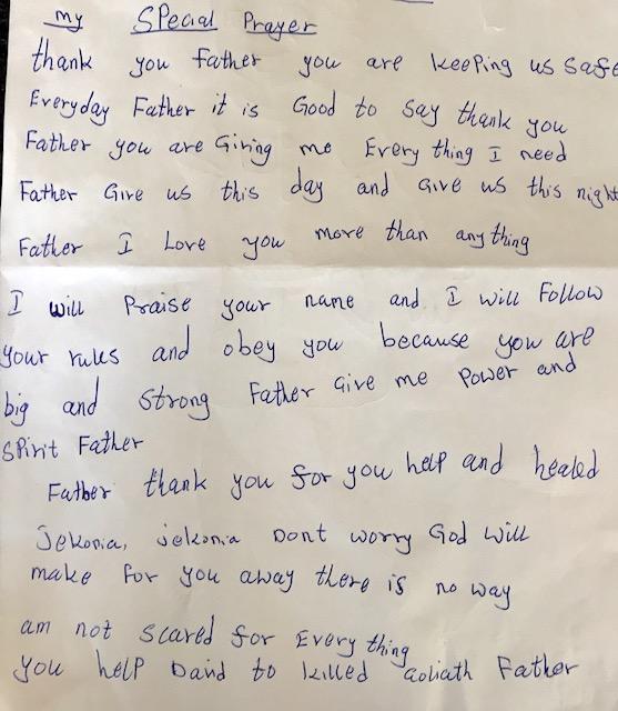 A prayer by Jekonia's dear friend and fellow OVI Children's Hospital patient, Jacob.