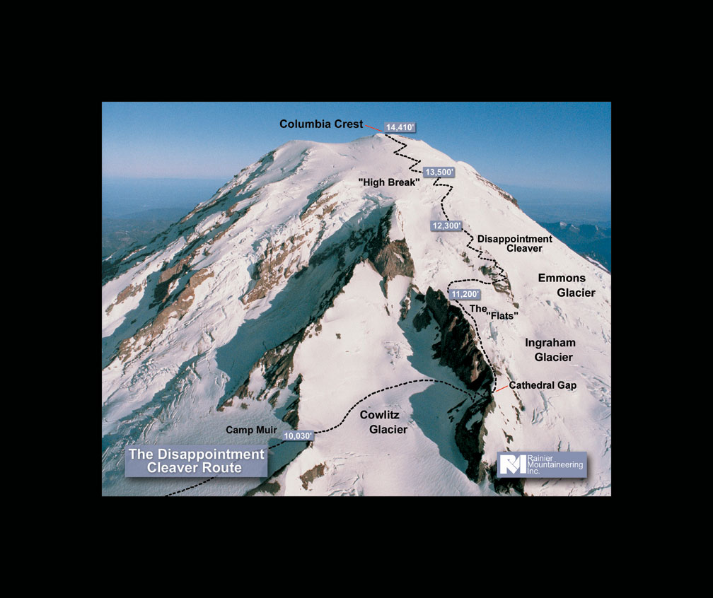 This is the Disappointment Cleaver Route that we will be climbing!