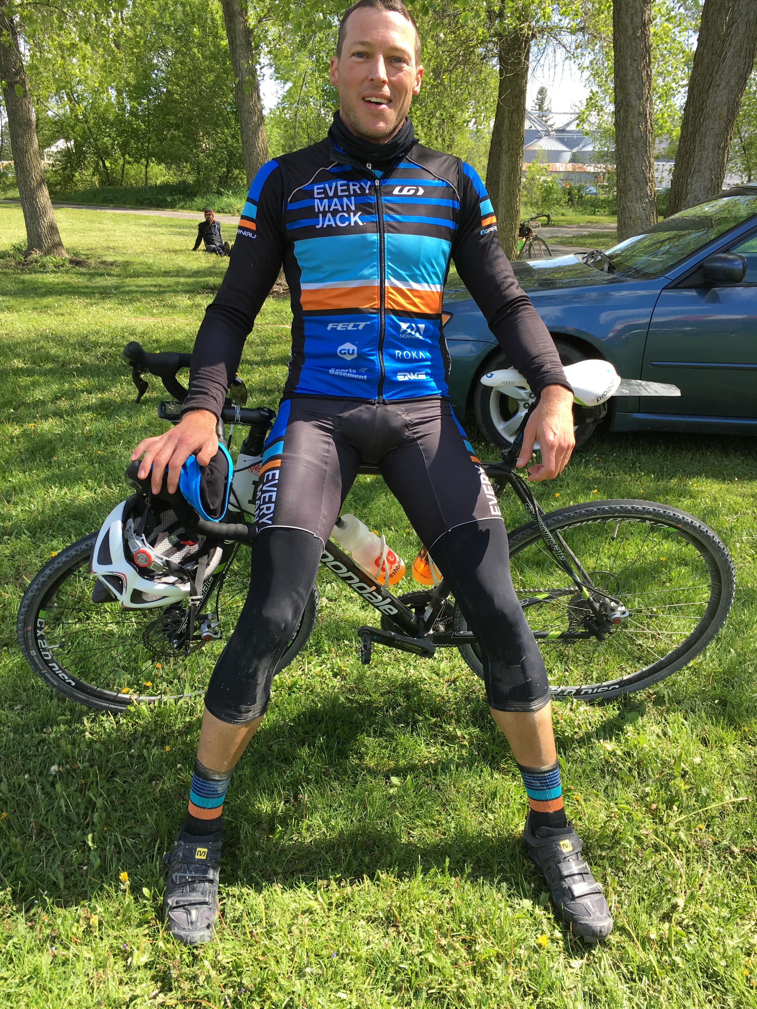James after finishing the Almanzo 100, a 100mi all gravel road race in southeastern Minnesota