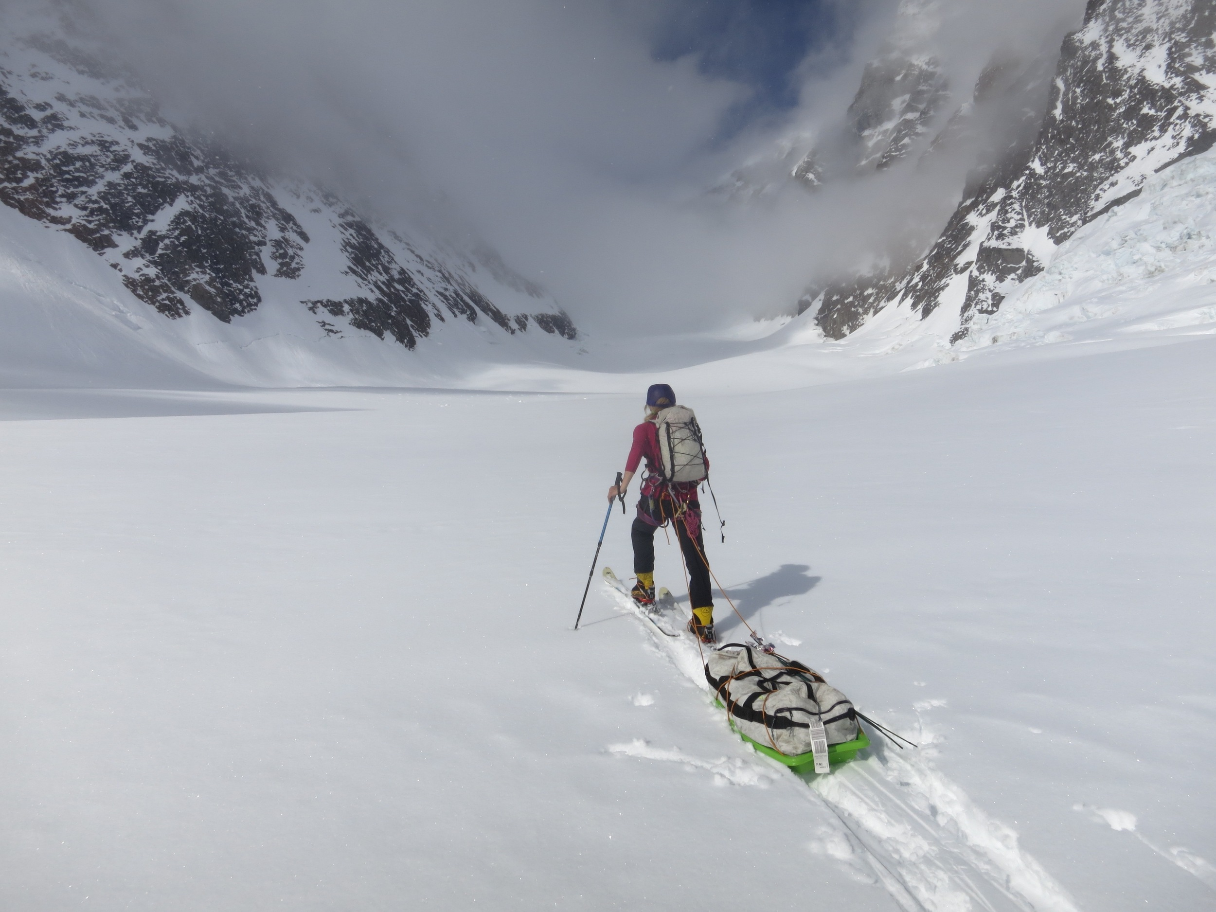 skiing up towards our soon to be ABC (Advanced base camp)