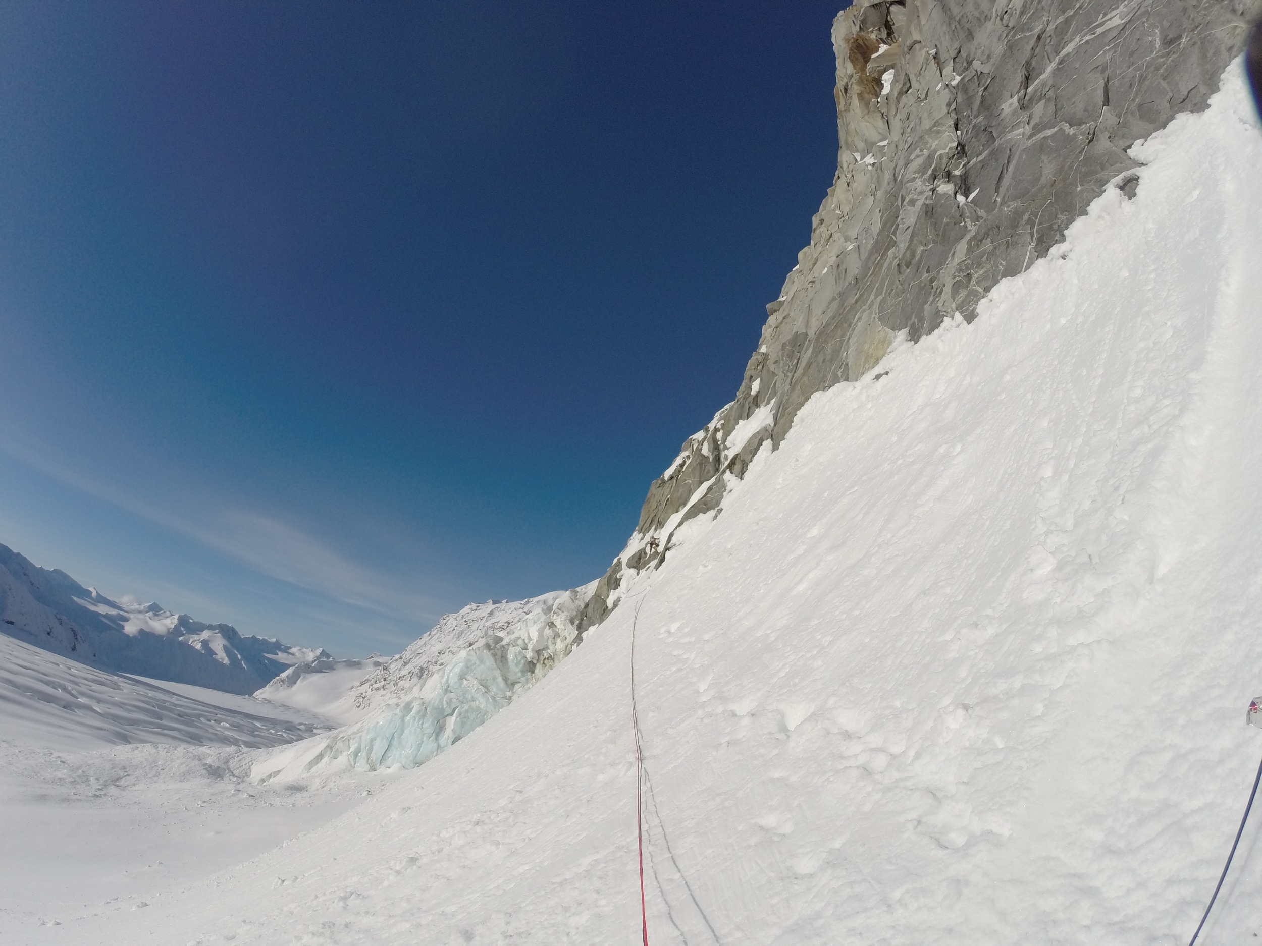 i'm really small but you can see me starting up the south facing headwall.