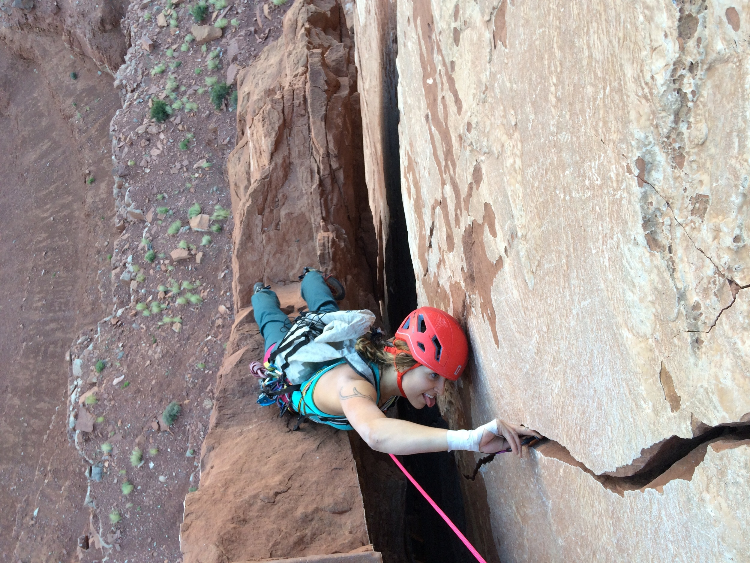 emily grabbing gear from pitches one and two