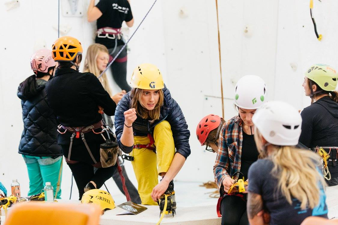 Jenny MacDougall Showing off her imaganary placement at the Women's Ice Climbing Clinic
