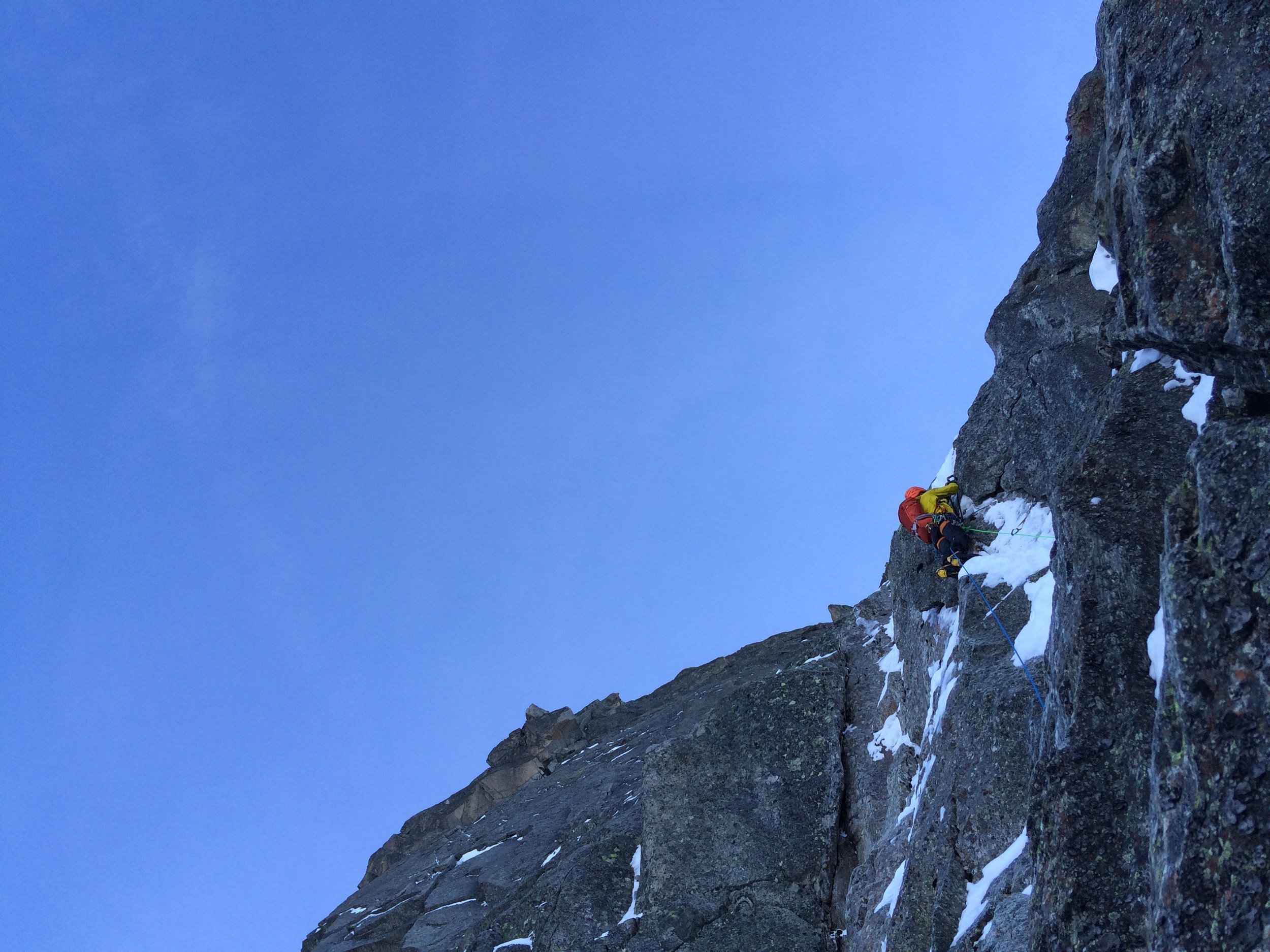 Dave Searle styling the mixed crux of the route. We found little or no ice on our pitches. Dry year in Chamonix.