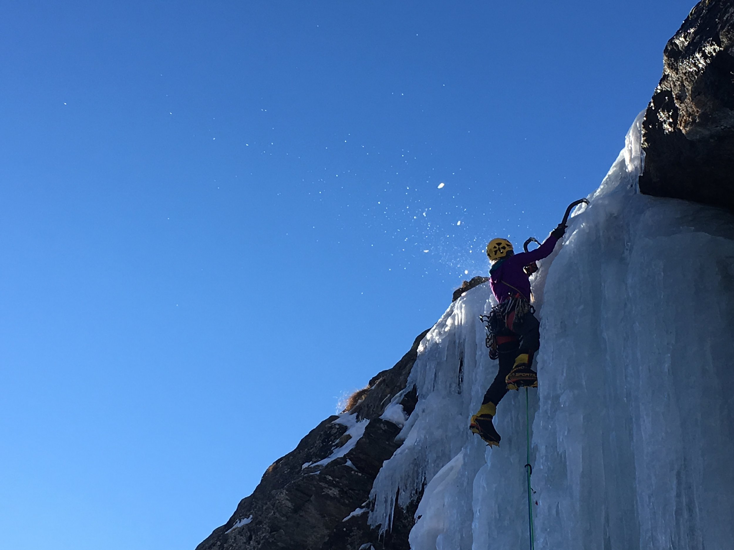climbing water ice in Conge, Italy