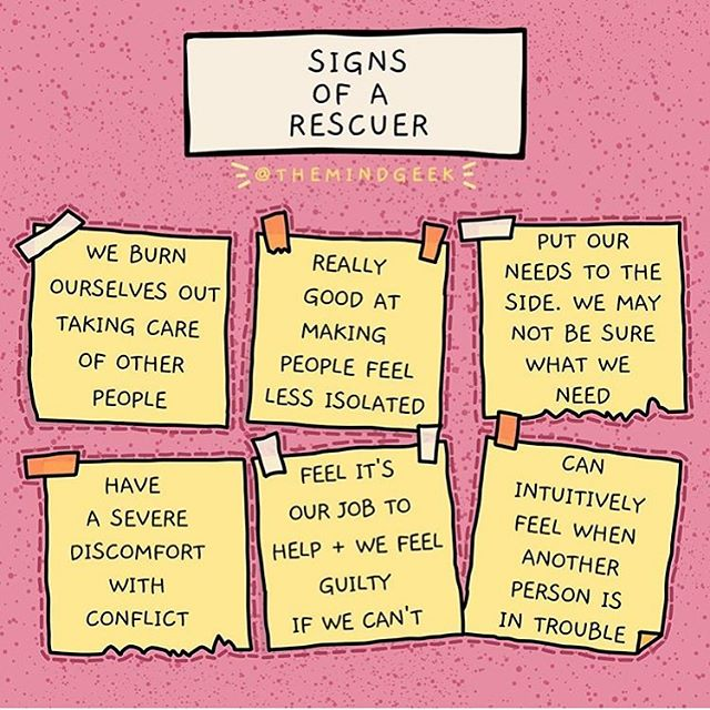 "For almost a decade, I've been a rescuer. I've always tried to ""heal"" or ""support"" other people because deep down inside I always resented never being rescued as a child  However, this mindset is incredibly toxic. It is not empathic, but a self-satisfying ideology.  So instead, my loves, instead of trying to save others, I challenge you all to save yourselves. Make sure YOU'RE okay, make sure your boundaries are being met, make sure you're taking the steps to help yourselves heal"