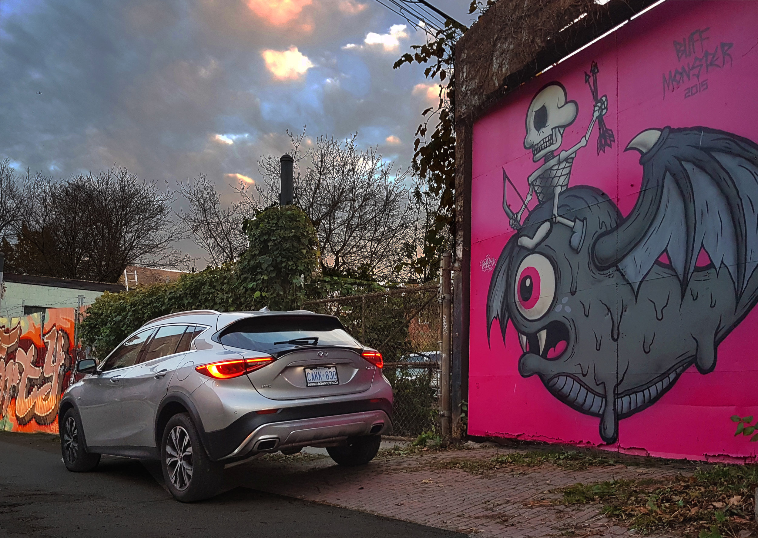 The QX30's buff bod was a real head turner in the back alleys of Toronto.