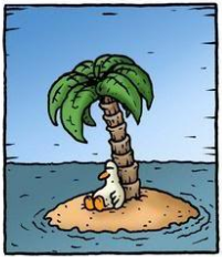 Stuck like a duck..... Far Side  always seems to know what's up...
