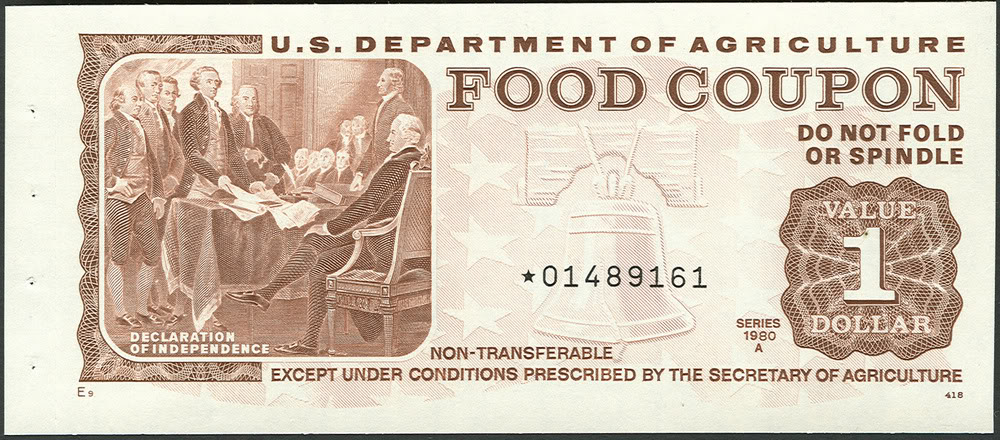 Food coupon from 1980 showcasing the signing of the Declaration of Independence. From  Society of Paper Money Collectors .