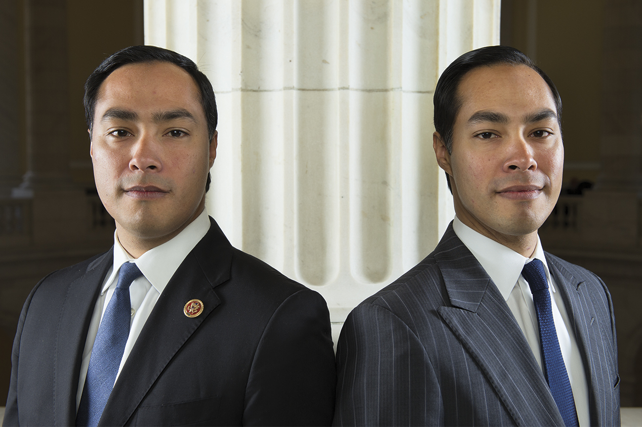 Congressman Joaquin Castro of Texas, right, and Secretary of Housing and Urban Development Julián Castro. Courtesy of   National Journal  .