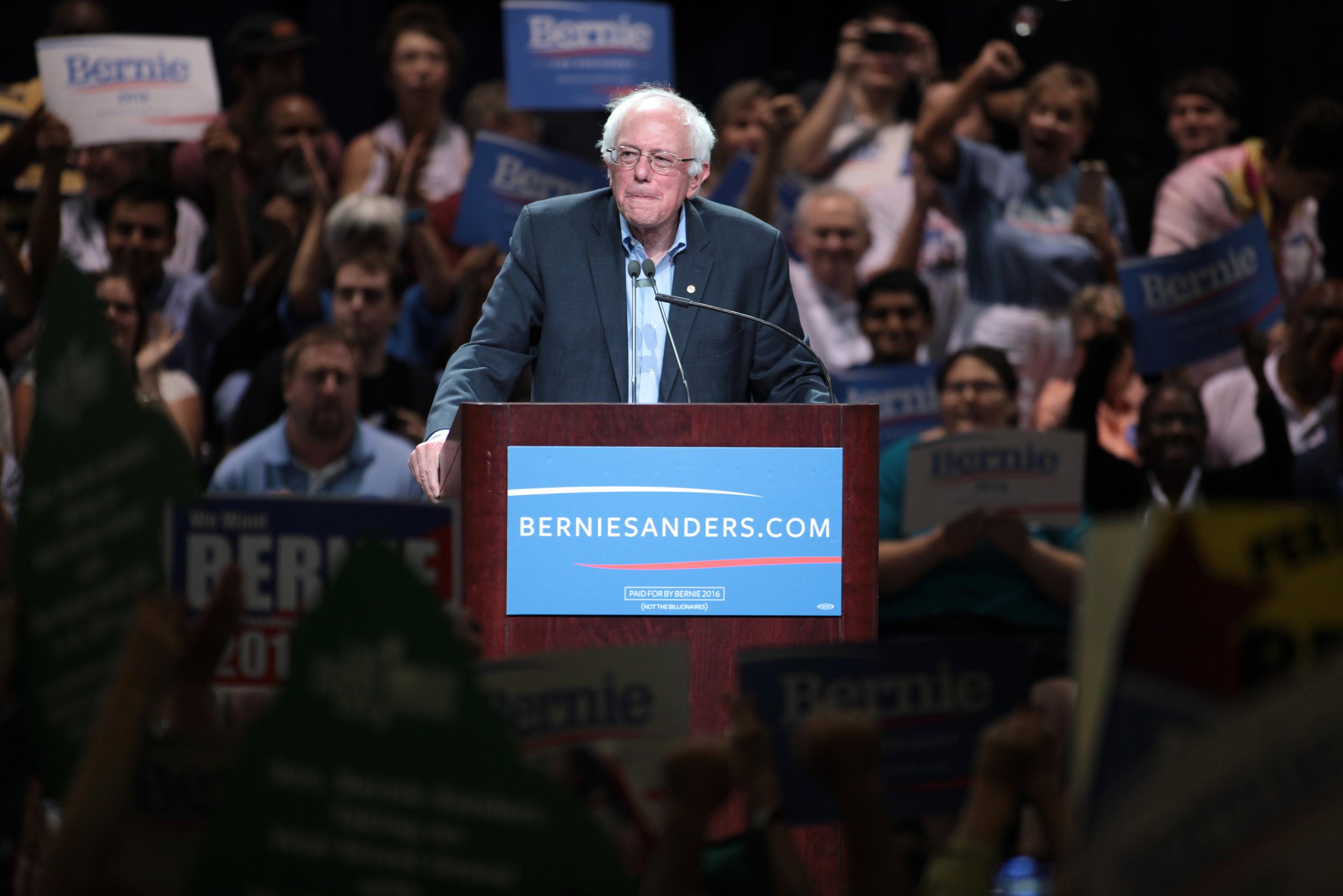 Sen. Bernie Sanders speaking at a town meeting at the Phoenix Convention Center in Phoenix, Arizona.  Flickr / Gage Skidmore .