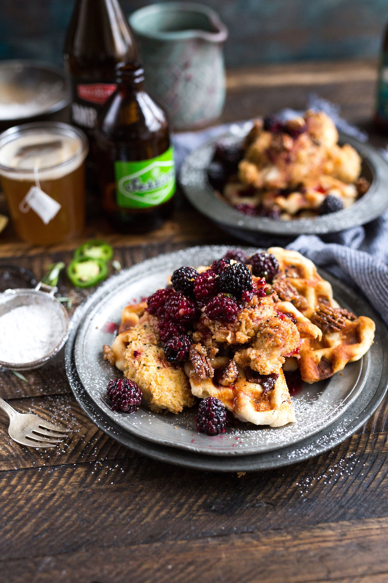 fried chicken and waffles in restaurant | Austin restaurant writer | Mandy Ellis freelance writer