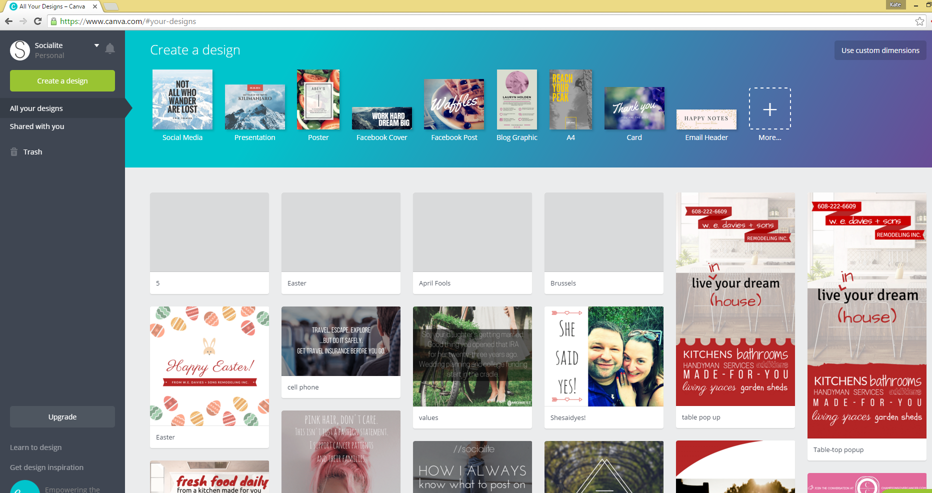 Checking out the Canva account screen.