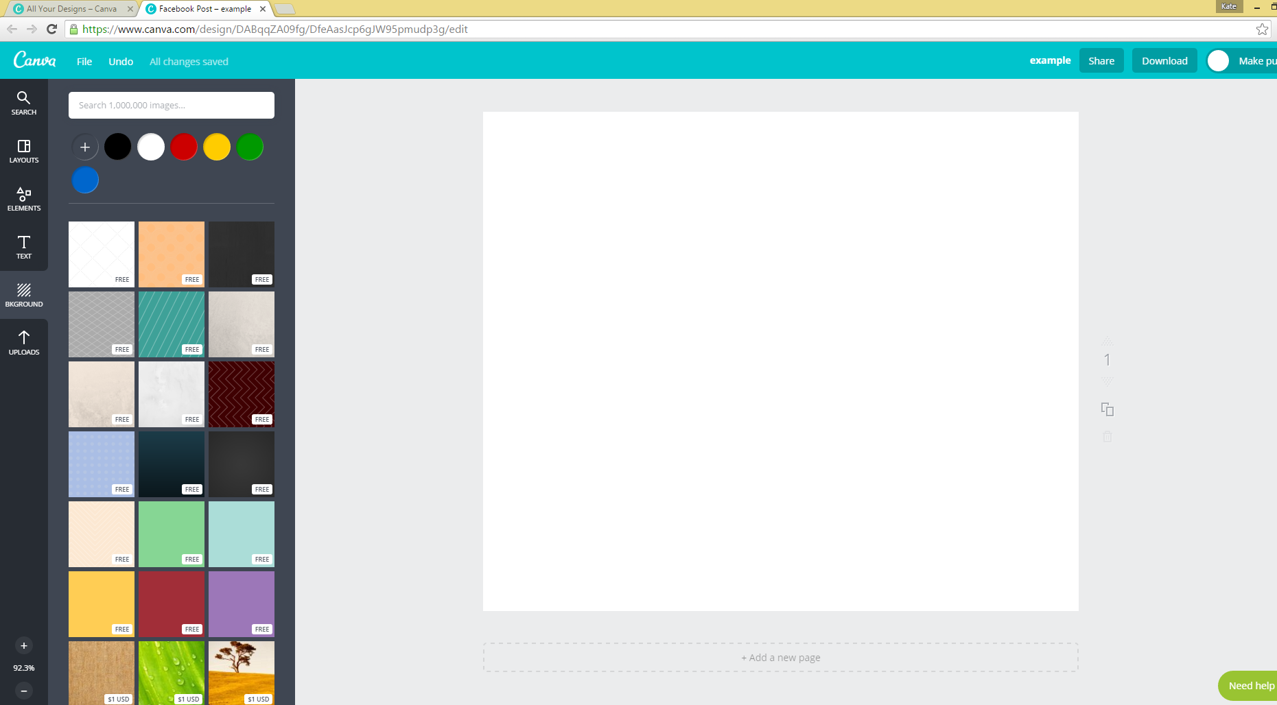 Starting with a blank Canva template.