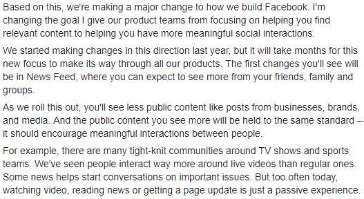 Source: Mark Zuckerberg via Facebook | Explaining the Updates Being Made to Facebook