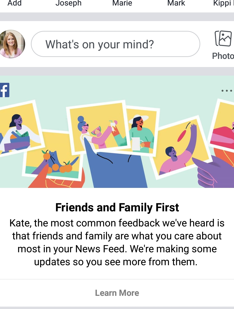 Screenshot from my Facebook account of Facebook announcing their update to the masses in January of 2018