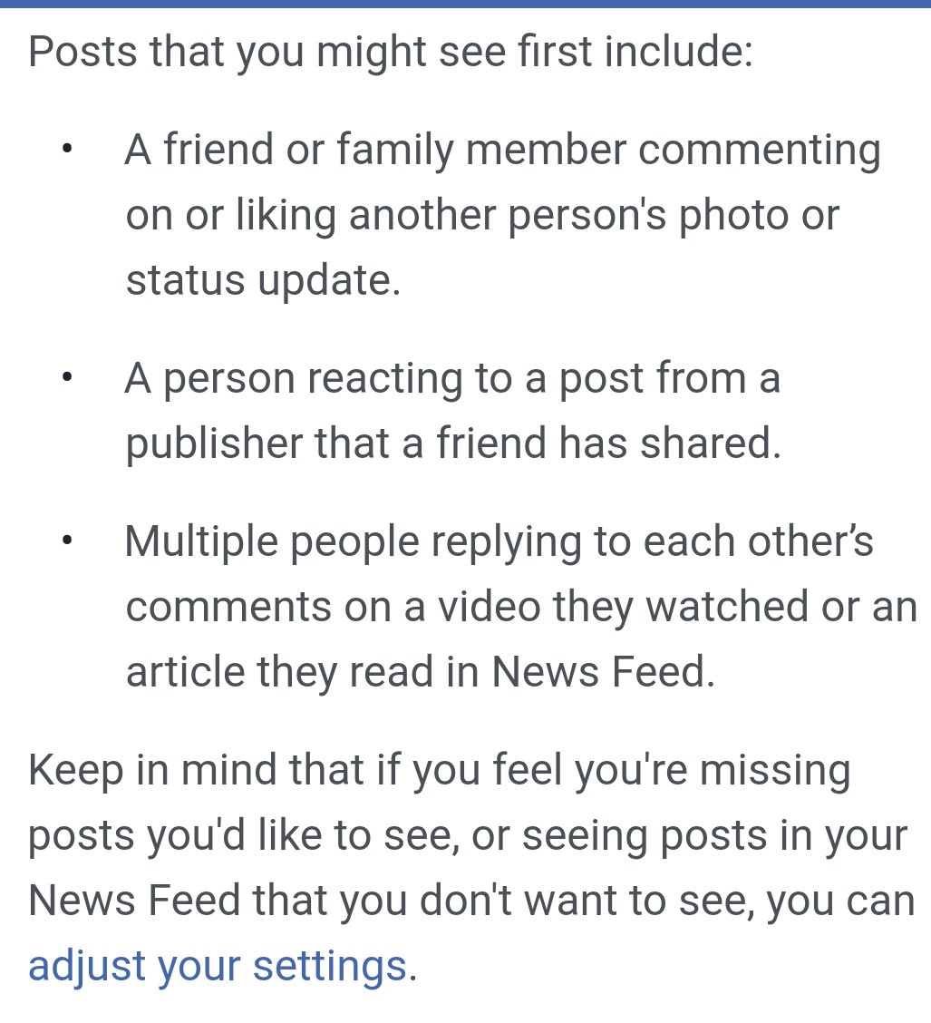 Source: Facebook | Explaining how the Facebook newsfeed will operate going forward.