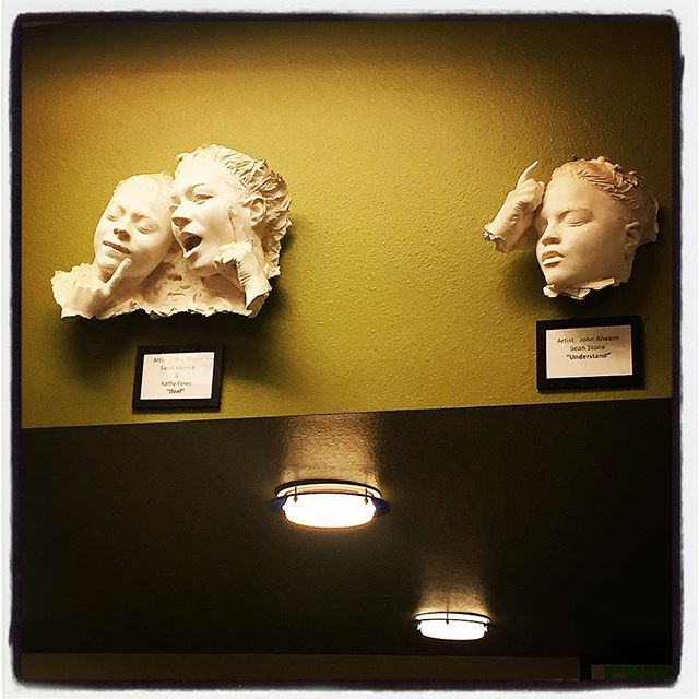 Sculptures in the library of the Phoenix Day School for the Deaf.