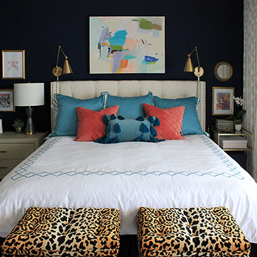 bold & eclectic master bedroom -