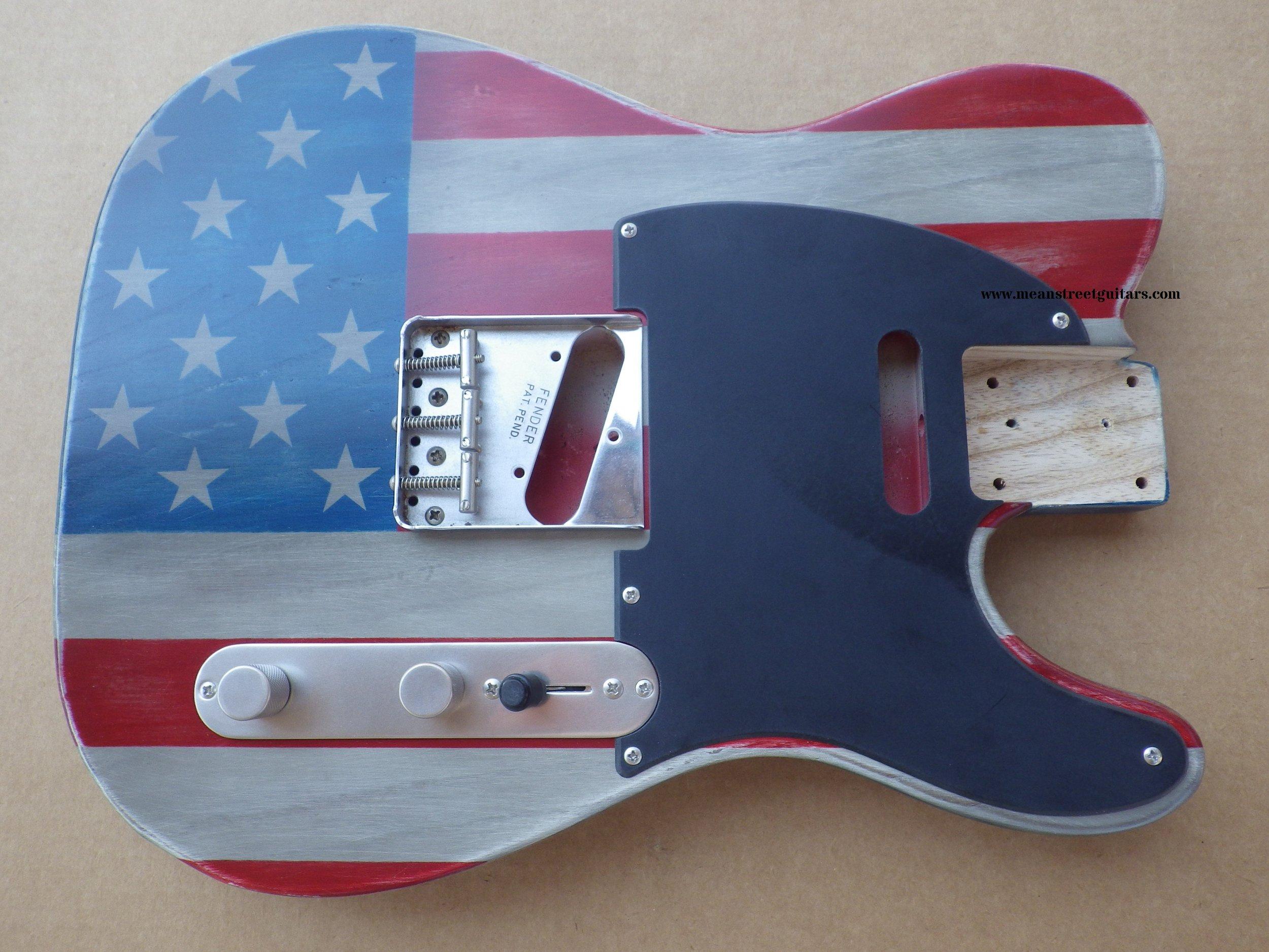 Mean Street American Flag Tele relic paint job Shawne P pic 9.JPG
