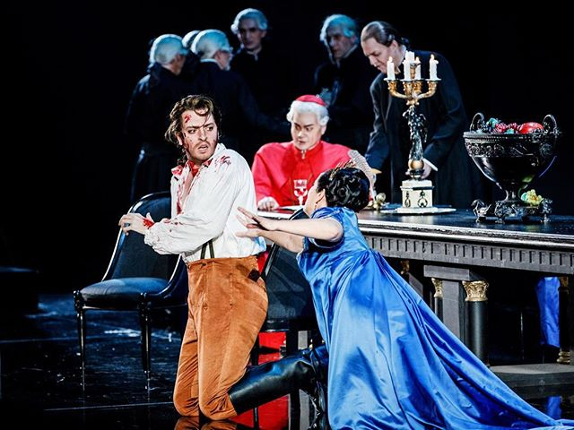 """M'hai tradito! Maledetta!"" • One of my favourite parts in Tosca is the famous ""Vittoria"" moment in Act II where Cavaradossi learns that Tosca has betrayed Angelotti's secret location to Scarpia. Big DRAMA!! What's your favourite part of the opera? [📸 by @felix.gruenschloss]💥🎶🎭⭐️ #dreamrole #cavaradossi #mariocavaradossi #tosca #giacomopuccini #italian #tragedy #verismo #opera #ilovemyjob #operasinger #tenor #tenorlife #festlife #badischesstaatstheater #staatstheaterkarlsruhe #karlsruhe #germany #operasingersofinstagram #jamesedgarknight #encompassarts #ioamanagement - @staatstheaterka"
