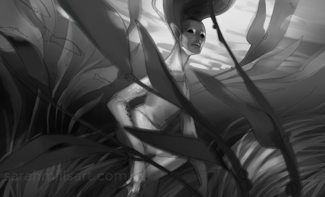 B&W underpainting.