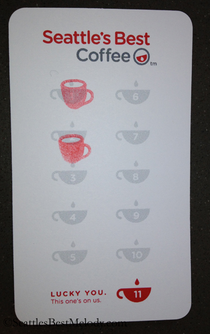 2 - 8 - 13 Seattles Best Coffee punch card
