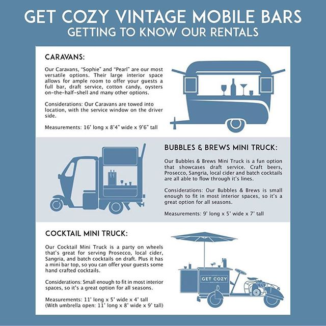 For those of you who are new to Get Cozy, here's a rundown of what we have to offer. These cuties are available in Virginia, DC, and Maryland, but don't forget about our Bubbles & Brews Piaggios that are spread all across the US! Visit our site to learn more 🥂  #mobilebar #vintagemobilebar #getcozy #cozycaravanclub #caravan #mobilebartending #weddinginspo #weddinginspiration #eventinspiration #partyplanner #reception #dcweddings #virginiaweddings #marylandweddings
