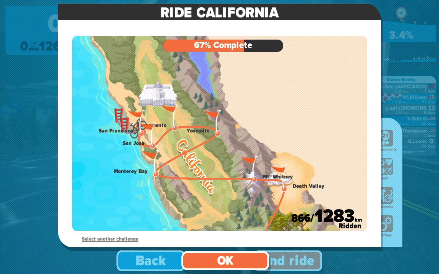 I'm about 2/3 of way to completing the @gozwift Ride California challenge.